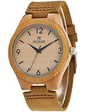Redear Leder Elegante Damen Armbanduhr Klassisch Natürlicher handgemachter Bambus Uhr Mit Japanischer Quarzwerk...