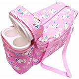 Baby Diaper Bag With 2 Bottle Holder Travelling Bag For Kids - Keep Baby Bottle Warm (Pink)