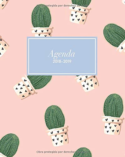 Agenda 2018-2019: Organizador y planificador con citas de inspiración, tamaño 20 x 25 cm, Diseño tropical cactus plantas rosado paraíso (Octubre 2018 - diciembre 2019) por Papeterie Collectif
