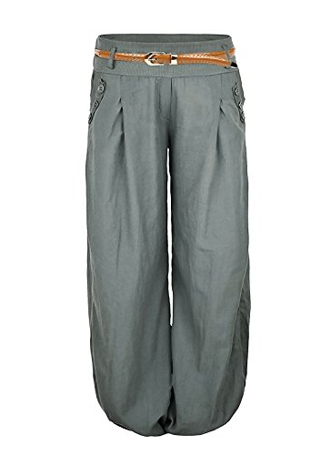 Damen Haremshose Elegant Winter Pumphose Lange Leinen Hose mit Gürtel Aladin Pants,1 Hosen+1 Gürtel (XL, Armeegrün)