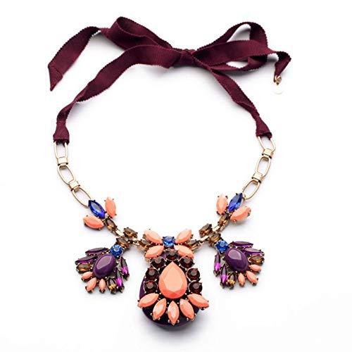 TLLAMG Halskette Hohe Qualität Übertrieben Perfekte Großhandel Schmuck Frauen Rot Glas Anweisung Halskette (Gläser Rote Großhandel)
