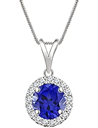 "Silvernshine 7mm Blue Sapphire & Sim Diamond Halo Pendant 18"" Chain In 14K White Gold Fn"