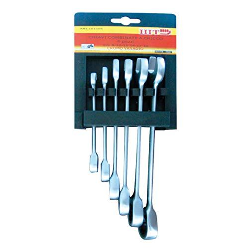 Lot de 6 clés mixtes à cliquet acier vanadium 8 ? 19 mm professionnelle 101105