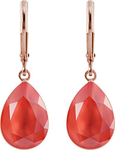 petra kupfer Damen Ohrringe Ohrhänger Tropfen Anhänger 1 Swarovski®-Kristall Koralle Light Corall Rose Gold Vergoldet rdh1-rg-light-coral