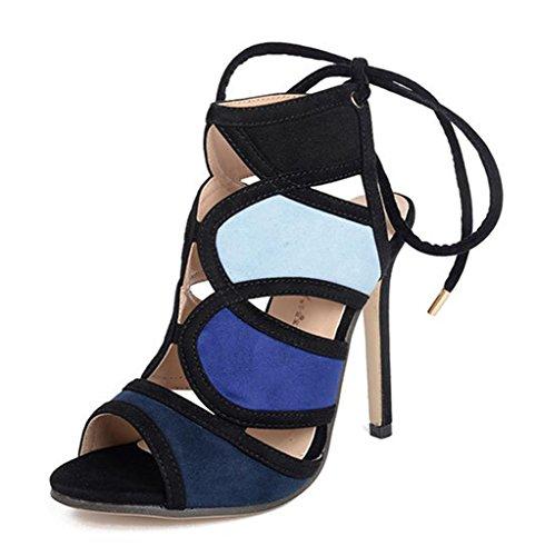 HETAO Persönlichkeit Frauen Kleid Sandalen High Heels Peep Toe Pumps Schuhe Regenbogen Wildleder Kampf Farbe Stilettos Sandalen, 38 Geschenk Des Mädchens