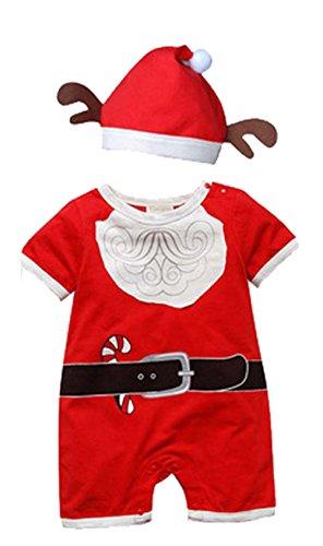 Baby Girl Tute Tuta 2Pezzi con renna Design Cervo di Natale cappello Red 9-12 Mesi
