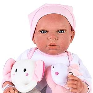 Muñecas Arias- Bebe Reborn: Eva - Muñeca Realista perfumada con múltiples Accesorios: Manta, Chupete y 2 Peluches - 40 cm, Color Rosa (1)