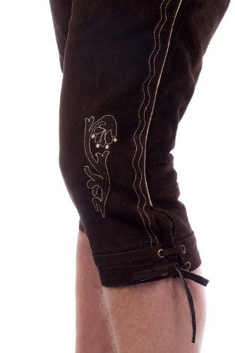 Herren Trachten Kniebundhose dunkelbraun aus feinstem Rindsveloursleder Gr. 44-68 -