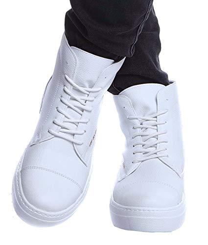 LEIF NELSON Herren Schuhe Klassische Stiefel Freizeitschuhe Boots Elegante Winterschuhe Männer Sneakers LN158; 45, Weiß (Stiefel Herren Weiß)