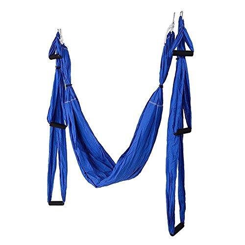 Fliege Indoor-antenne (Alger Anti-Schwerkraft Antenne Fliegen Hängematte Yoga Indoor Fallschirm Tuch Hängematte Keine Dehnung mit 6 Griffen, 250 * 150cm , blue)