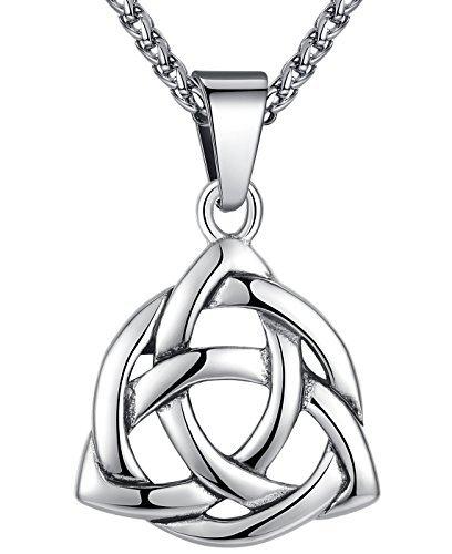 Aoiy - Collar con colgante de acero inoxidable, nudo celta, triquetra irlandés, Unisexo, cadena de 61cm, aap126