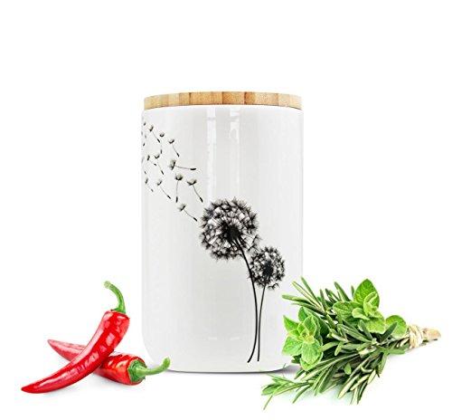 Sendez Vorratsdose aus Porzellan mit Löwenzahn-Motiv Vorratsbehälter Dose Vorratsglas...