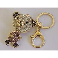BK Distribution Online Handbag Buckle Charms Purple Crystal & Enamel Teddy Bear Keyring Key Chains