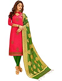 Women'S Pink Semi Stitched Embroidered Glaze Cotton Dress Material