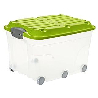 Rotho Roller 6 Aufbewahrungsbox 57 l mit Deckel und Rollen, Kunststoff (PP), transparent/grün, 57 Liter (59,5 x 40 x 37 cm)