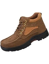 Jitong Bottes Courtes Homme à Lacets Chaussure Montante Faux Cuir Militaire  Boots dc8b49cdd9f0