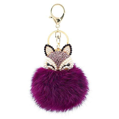 Tong Yue Fellkugel-Schlüsselanhänger für Handtasche, Auto-Schlüsselanhänger, Anhänger violett (Violetta Handtasche)