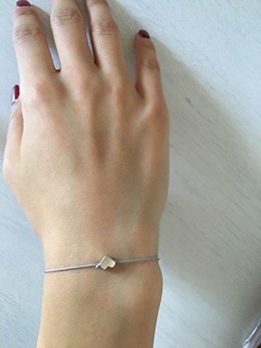 Nilian Damen Armband – Silber Herz Armband – Filigranes Frauen Armband - perfekt geeignet als Geschenk – Hochwertiges Textil Armband mit Herzanhänger
