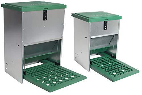 Futterautomat Feedomatic 5kg mit Trittplatte für 5kg Futter, Geflügel-Futterautomat, Hühnertrog, Futtertrog
