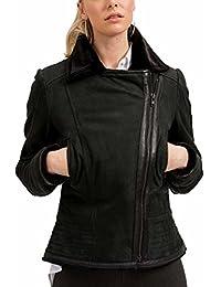 trueprodigy Casual Mujer marca Chaqueta De Cuero basico ropa retro vintage rock vestir moda deportivo manga larga slim fit designer cool urban fashion leather jacket aviador biker color negro