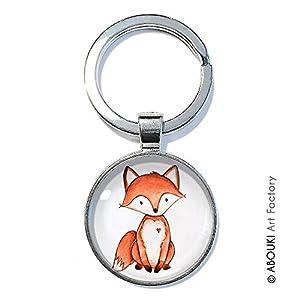 Romantischer Fuchs - ABOUKI | handgefertigter Schlüsselanhänger mit Illustration