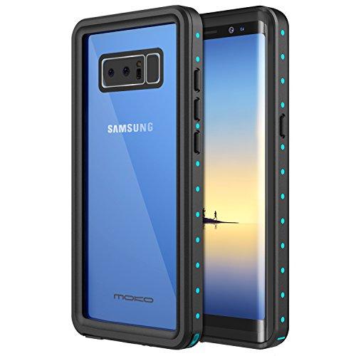 MoKo Galaxy Note 8 Hülle, wasserdichtes Gehäuse mit eingebautem Displayschutzfolie Ultra schützendem Stoßdämpfender Stoßdämpfer Staubdichter e für Samsung Galaxy Note8, Schwarz und Blau