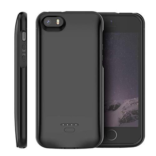 Cover batteria per iphone se/5s/5c, 4000mah custodia ricaricabile con batteria esterna caricabatterie cover battery case per iphone se/5s/5
