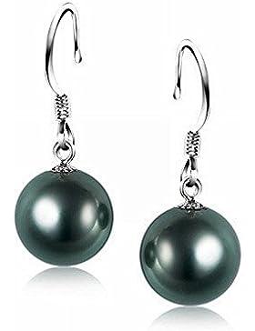 Schmuckwilly Muschelkernperlen Perlen Ohrringe Ohrstecker - Damen 925 Sterling Silber Hacken dunkel grün-schwarz...