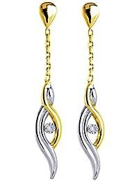 Boucles d'oreilles pendantes - Or bicolore 9 cts - 9K8356GB