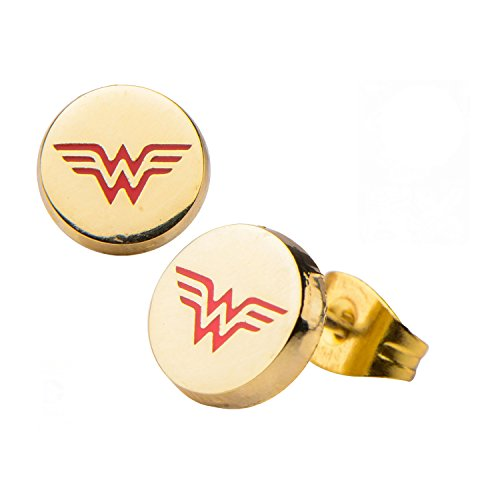 Offizielle DC Comics Wonder Woman Logo Gold vergoldet Edelstahl Ohrstecker (Wonder Woman Ohrringe)