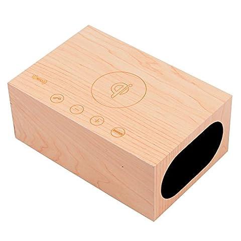 Shine @ Iristime multifonction Haut-parleur Bluetooth sans fil Qi Bluetooth Bois support Haut-parleur Réveil, NFC, Ledtime écran, station de charge pour les smartphones, les tablettes et autres appareils numériques