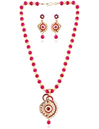 I Jewels Traditional Gold Plated Pendant Necklace With Pearl Mala And Earrings For Women (MP006Q)