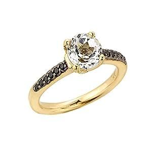 Kleine Schätze - Damen Ring / Verlobungsring / partnerring 10 Karat Gelbgold Weiß Topas und schwarz Diamant Solitär Ring