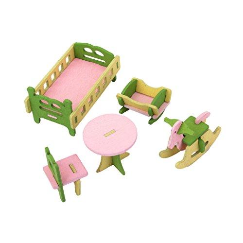 Sharplace 5 Pcs Miniatur Kinderzimmer Holz Möbel Set für 1:12 Puppenhaus - Stuhl + Tisch + Schaukelpferd + Cradle + Kinderbett