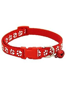 cokil Pet Collar Dog Footprint Colliers de sécurité en Nylon réglable avec Cloche Laisses