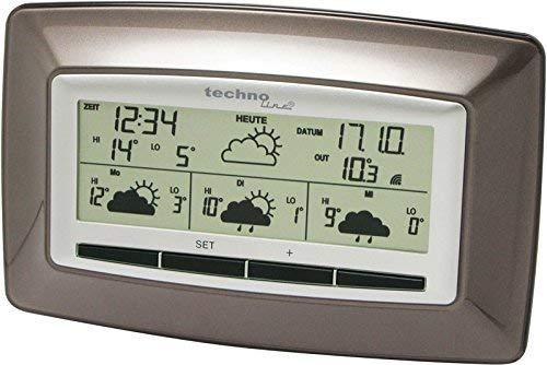 Technoline WD 4005 satellitengestützte Wetterstation mit zuverlässiger Wettervorhersage für 4 Tage (braun mit Batterien)