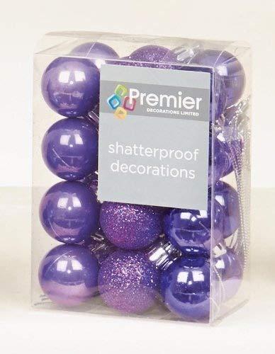 Incassable Violet 24 x Décorations De Sapin de Noël, boules et finitions