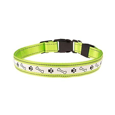 UKCOCO LED Sicherheitshalsband – Knochen und Fußabdruck Muster, Wiederaufladbar – Leuchthalsband für Hunde und Katzen…