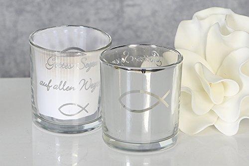 2 x Windlicht mit Spruch GOTTES SEGEN aus Glas in silber Höhe 7,5 cm Kommunion