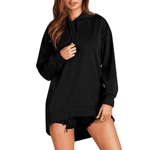 Kleid Damen Kolylong® Frauen Elegant Gestreift Pullover Kleid mit Kapuze Herbst Hoodie Sweatshirt Lange Loose Mantel Sportkleid Langarm Shirt Tops (XL, Schwarz) -