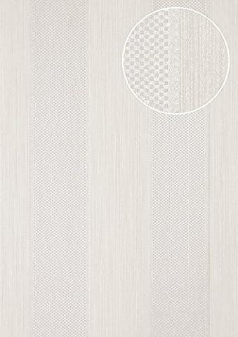 Streifen Tapete Atlas PRI-655-7 Vliestapete strukturiert mit geometrischen Formen glitzernd silber weiß-aluminium licht-grau seiden-grau 5,33 m2