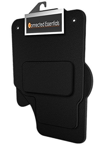 Connected Essentials 5005100 Tailored Heavy Duty Custom Fit Car Mats, Black with Black Trim, Deluxe