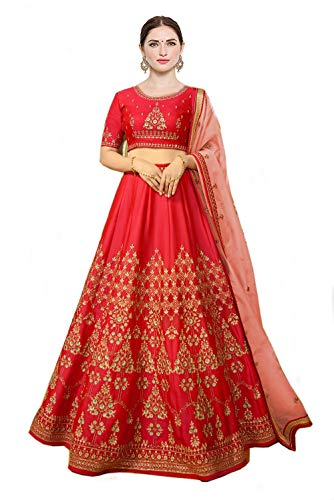 Globalia Creation Women\'s Net Heavy Embroidered Semi-Stitched Lehenga Gown | womens party wear | Today preminum new gowns collection 2018 dress