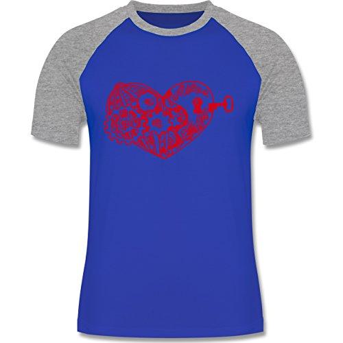 Valentinstag - Schlüssel zum Herzen - zweifarbiges Baseballshirt für Männer Royalblau/Grau meliert