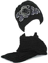 Strickschals/Schal Kunstpelz Kappe/Hüte/Mütze Set Damen/Frauen Mädchen Gestrickt Bestickt Blume mit Strasssteine
