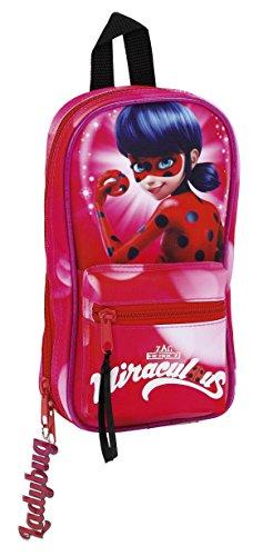 Lady Bug Miraculous – Plumier forma de mochila con 4 portatodos llenos (Safta 411712747)