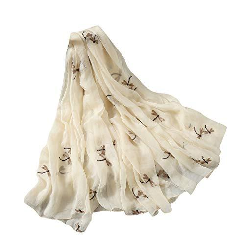 QIMANZIDamen Seiden Schal Elegante Seidentuch Hohe Qualität Hautfreundlich Anti-Allergie Halstuch Tuch(Beige,180x140cm)