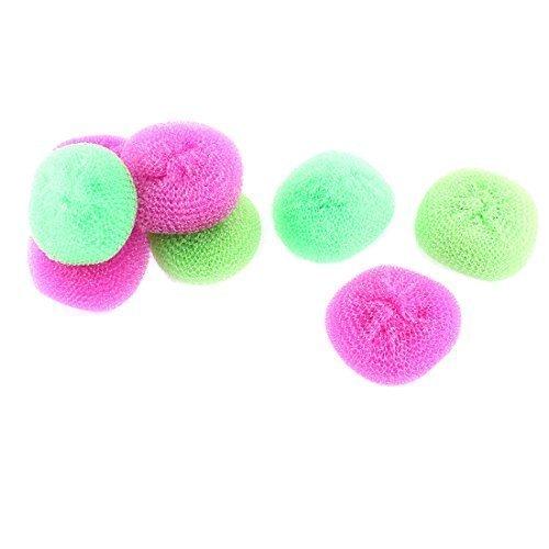 sourcingmapr-plastique-cable-rond-balle-bol-plat-lavage-tampon-a-recurer-8-pieces-fuchsia-vert