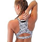 POIUDE Bra für Yoga Joggen Tanz Fitness-Training Damen Sport BH Büstenhalter Handy Tasche(Bunt, Medium)