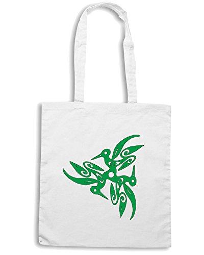 T-Shirtshock - Borsa Shopping FUN0792 bird birds animal car or wall vinyl decal sticker 38 88693 Bianco